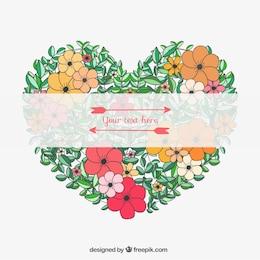 Corazón floral colorido