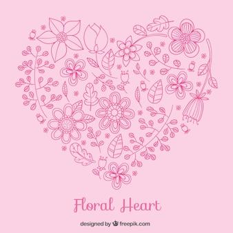 Corazón floral en tonos rosados