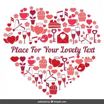 Corazón hecho con artículos de San Valentín