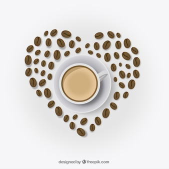 Corazón hecho con granos de café