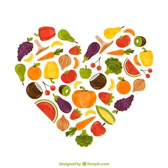 Corazón hecho de comida sana