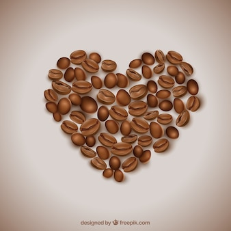Corazón hecho de granos de café