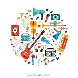 Corazón hecho de instrumentos musicales