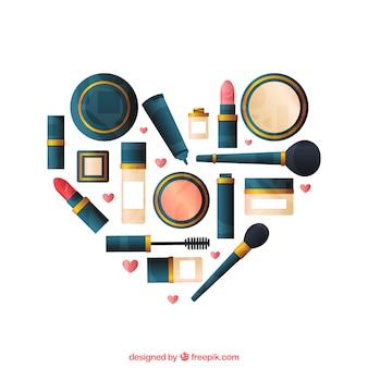Corazón hecho de maquillaje