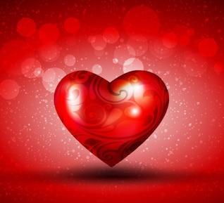 corazón rojo sobre fondo brillante