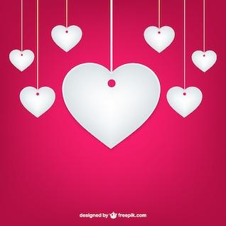 Corazones de papel de San Valentín