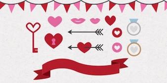 Corazones día de San Valentín y las flechas
