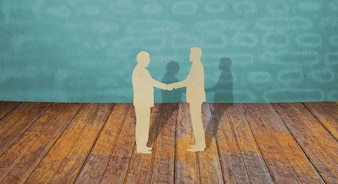 Corte del papel de dos negocio agitar la mano del hombre