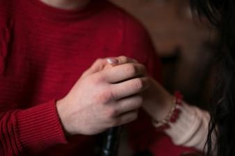 Cosecha, pareja, tenencia, manos