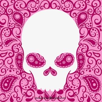 Cráneo blanco sobre fondo rosa