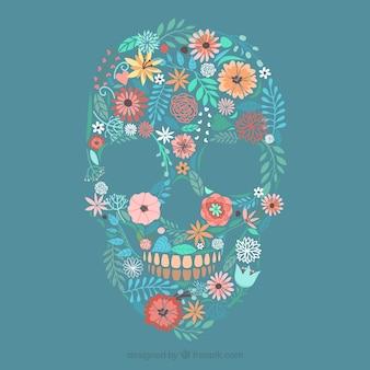 Cráneo hecho de las flores