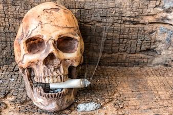 Cráneo humano que fuma el cigarrillo con humo