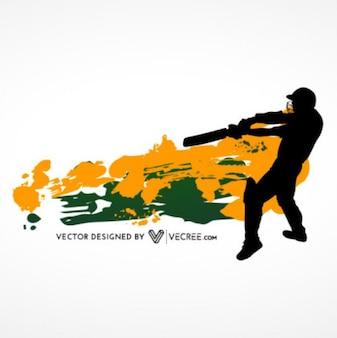 Cricket bateador silueta con fondo de la salpicadura