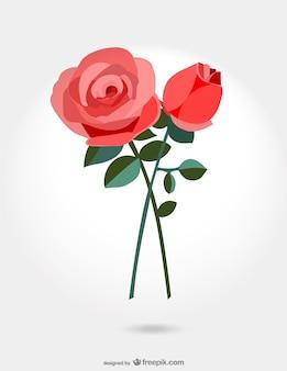 Ilustración con dos rosas rojas