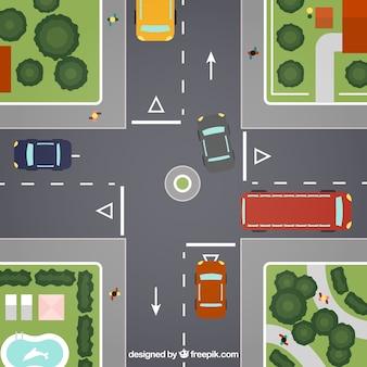 Cruce de caminos en la ciudad