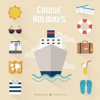 Iconos de vacaciones en crucero