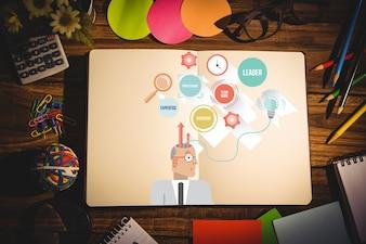 Cuaderno abierto con iconos de colores