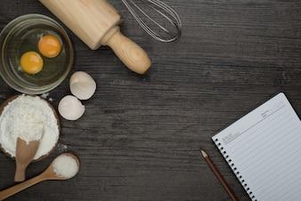 Cuaderno en la cocina