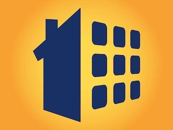 cuadrado abstracto House logo vector