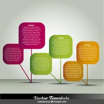 Cuadrados redondeados colorido infografía
