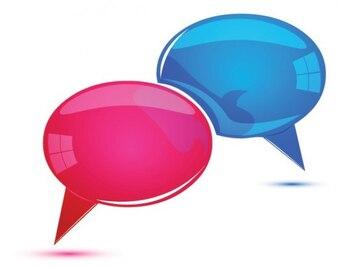 Cuadros de diálogo de color rosa y azul brillante