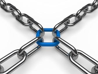 Cuatro cadenas tirando de un eslabón azul