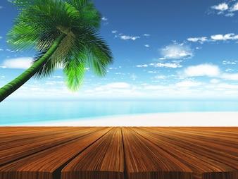 Cubierta de madera con playa tropical en segundo plano