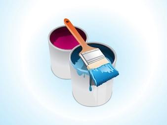 Cubos de pintura y arte vectorial cepillo