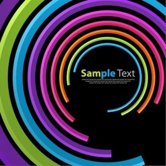 Curvas concéntricas de colores como un túnel en negro