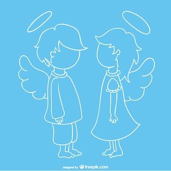Vector de ángeles simpáticos cara a cara