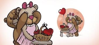 Linda pareja de osos de peluche