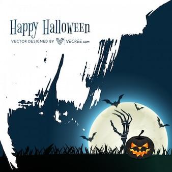 Oscura noche de Halloween con calabaza