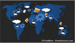 Datos de todo el mundo comparten concepto Conjunto de fondos de vector