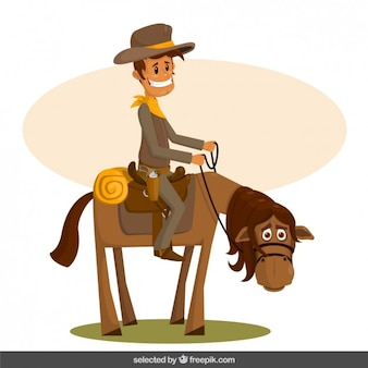 De dibujos animados de vaquero feliz