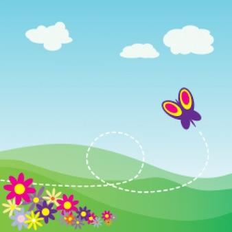 de dibujos animados ladera con mariposas y flores