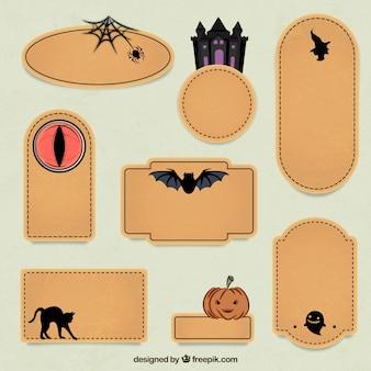 De Halloween etiquetas decoradas establecen
