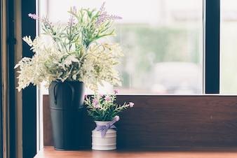 Decoración de interiores jarrón de flores