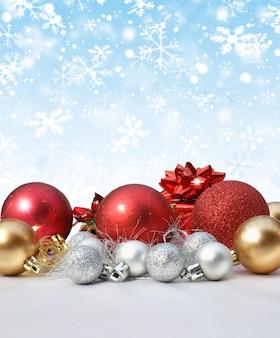 Decoración de navidad en fondo de copo de nieve