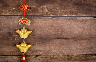 Decoración del Año Nuevo chino en la pared de madera