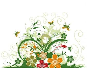 Decorativa floral abstracto del vector de la mariposa
