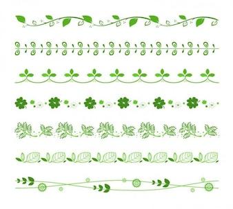Decorativo fronteras florales conjunto de vectores