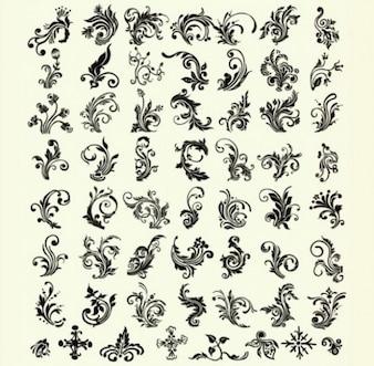 Decorativo floral remolino elementos vectoriales