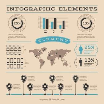 Elementos gráficos infográficos retro