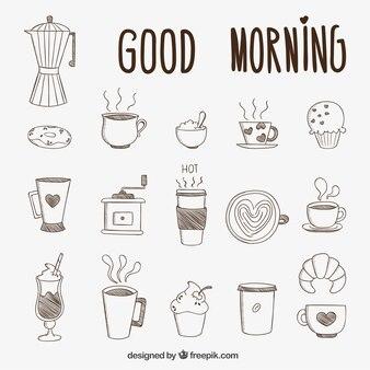 Desayuno dibujado a mano