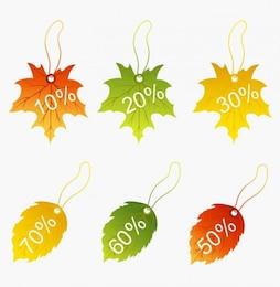 descuento otoñal con hojas de otoño vector gráfico