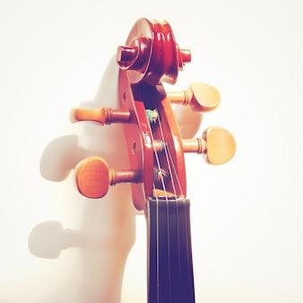 Detalles de la cabeza del violín con efecto de filtro retro