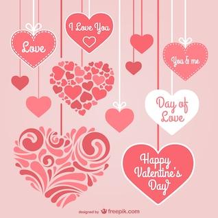 Día corazones papelería de San Valentín