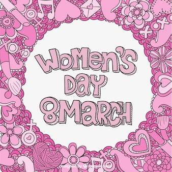 Día de las mujeres caligrafía con dibujos rosas