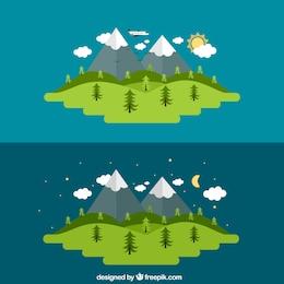 Día y noche de un paisaje rural