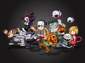 diablo de la historieta de Halloween personajes de vectores